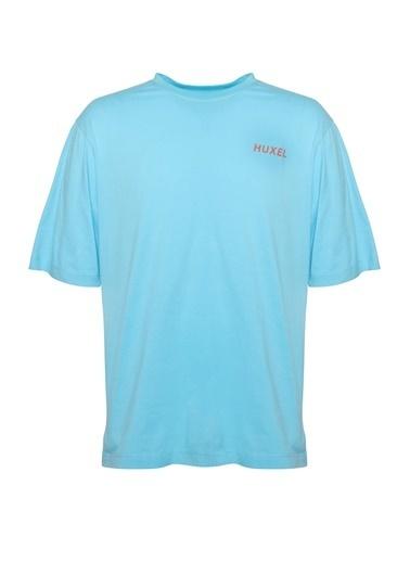 Huxel MUT002202 Oversize Sırt Baskılı T Mavi